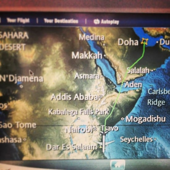 Final stage of the journey to Dar: Doha - Dar Es Salaam. Africa here I come.