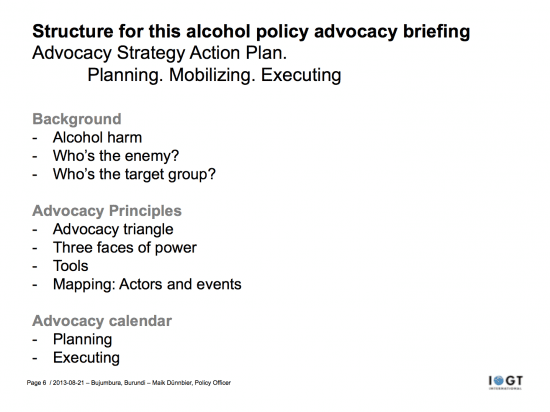 SLide from today's alcohol policy advocacy briefing