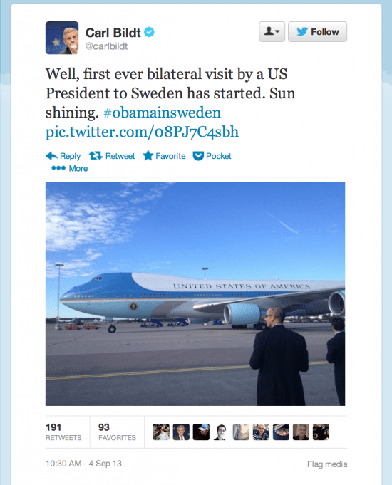 Another Bildt Photograph: Air Force One arriving at Arlanda Airport