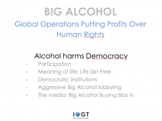 Many dimensions of alcohol's detrimental impact on democracy