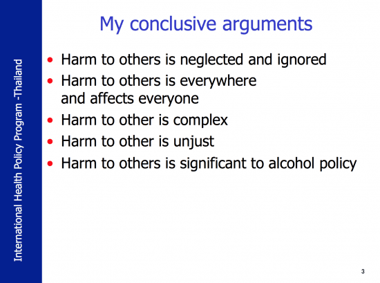 Five conclusive arguments concerning harm to other's