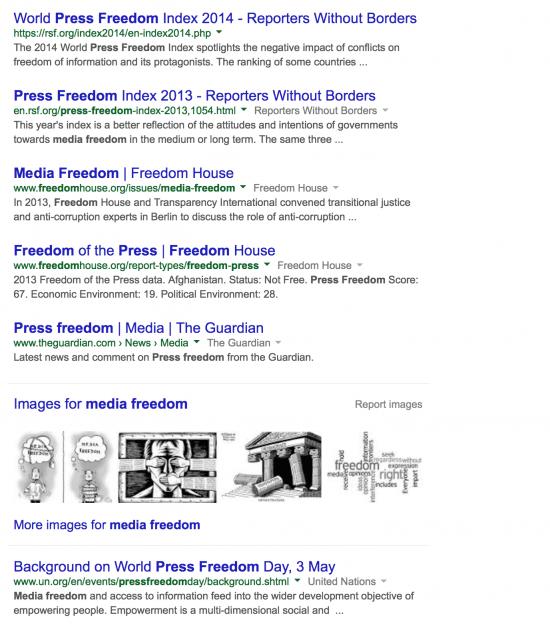 "Google search ""media freedom"""