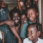 African kids smile happy group